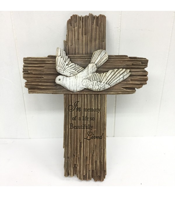 """In Memory of a life so Beautifully Lived"" Resin Cross"