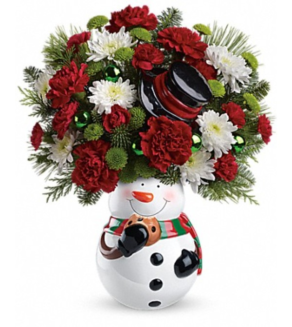 Snowman Cookie Jar Bouquet 13