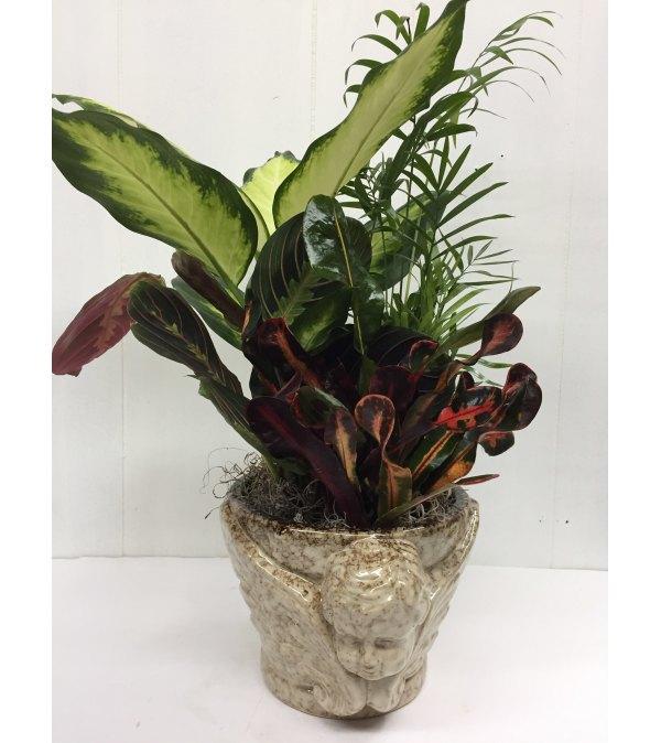 Sand Color Ceramic Cherub Head planter