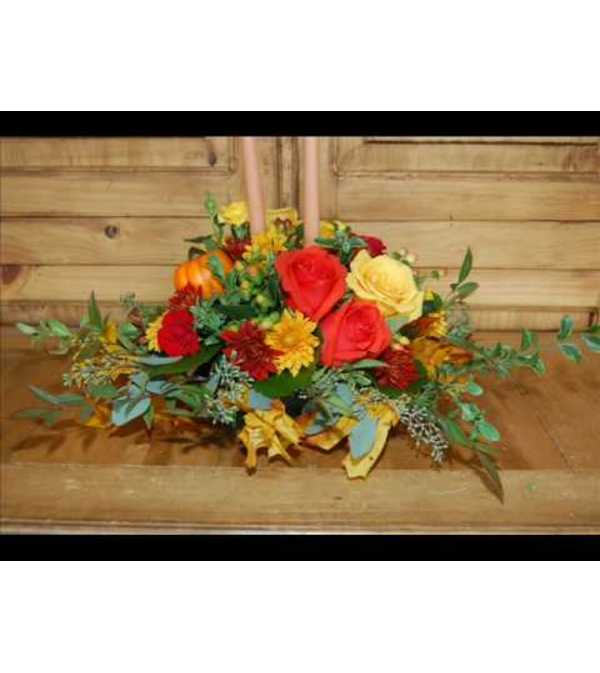 LONG AND LOW FALL CENTERPIECE