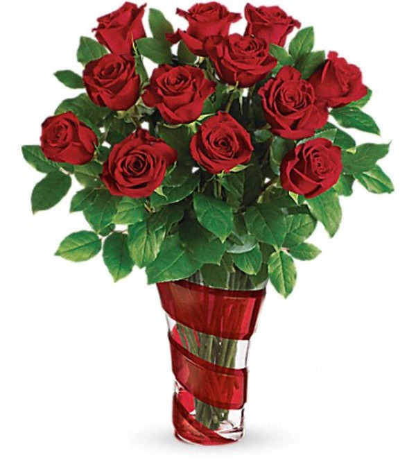 Classic Red Roses in Swirl Glass Upscale Vase