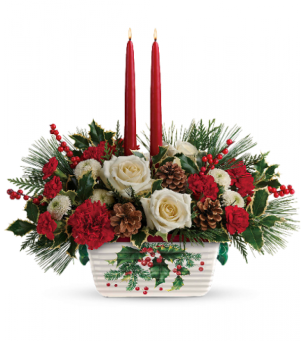 Teleflora's Halls of Holly Centrepiece
