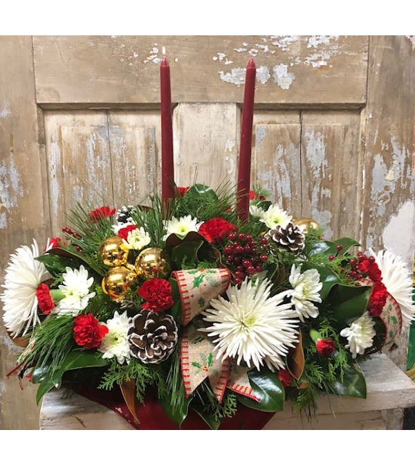 Christmas Taper Candle Centerpiece