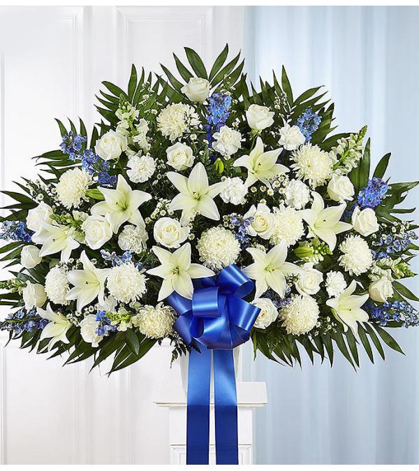 Heartfelt Sympathies Standing Basket -Blue and White XL