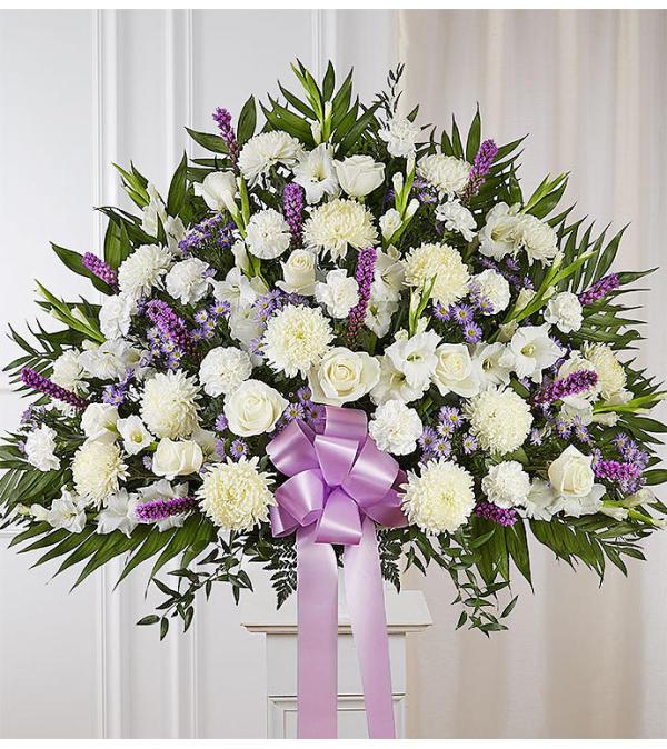 Heartfelt Sympathies Standing Basket- Lavender