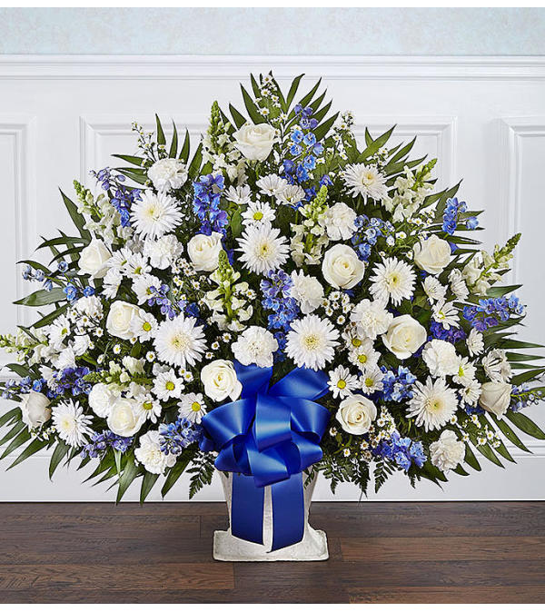 Heartfelt Tribute Floor Basket- Blue & White XL