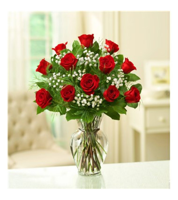 Classic One Dozen Red Rose  Vase