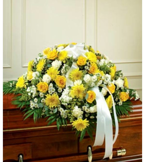 Yellow and White  Mixed Casket Spray Half and Full Size