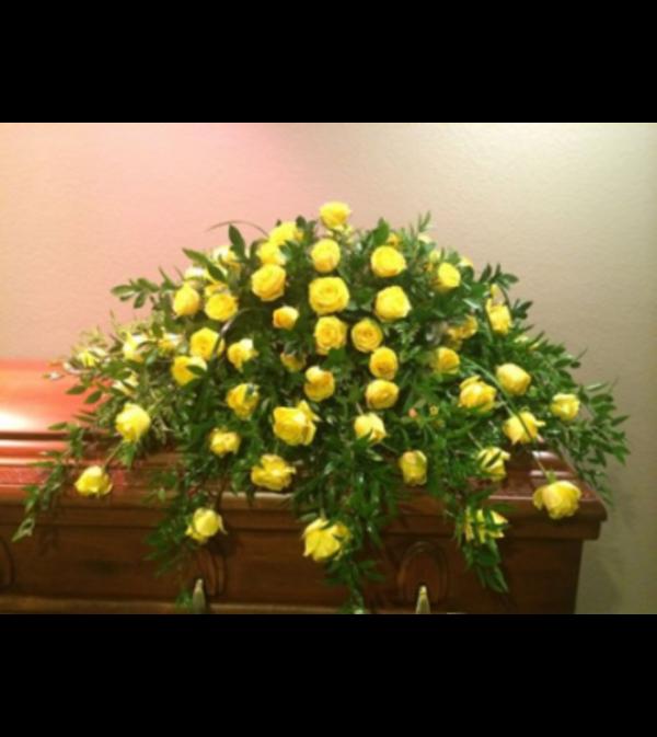 Yellow Yellow Rose Casket Spray