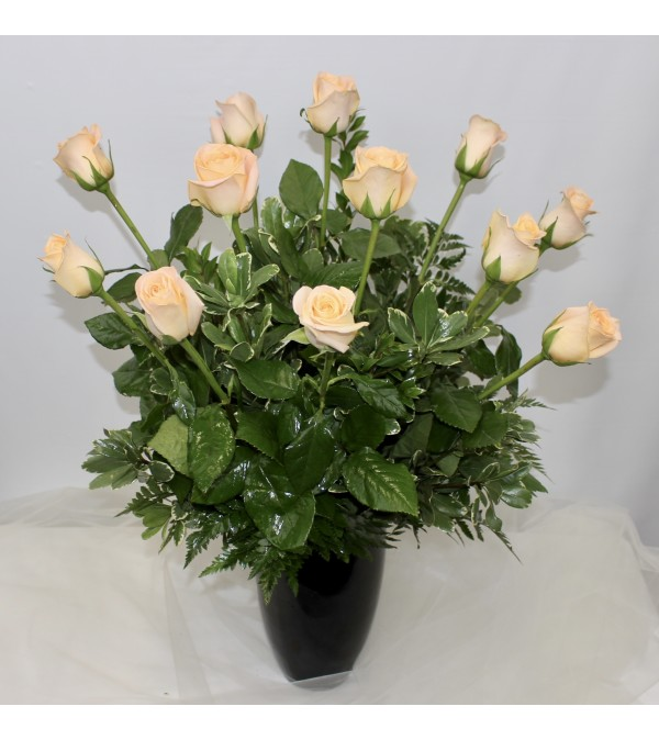 Dozen Peach Long Stem Roses