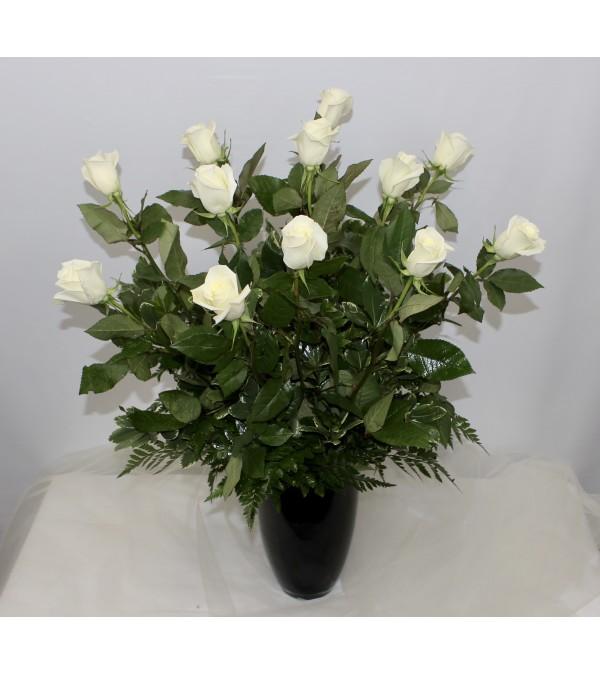 Dozen White Long Stem Roses