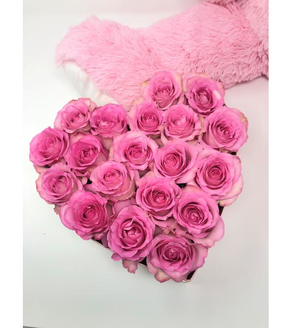 Small Heart Box -19 Pink Roses
