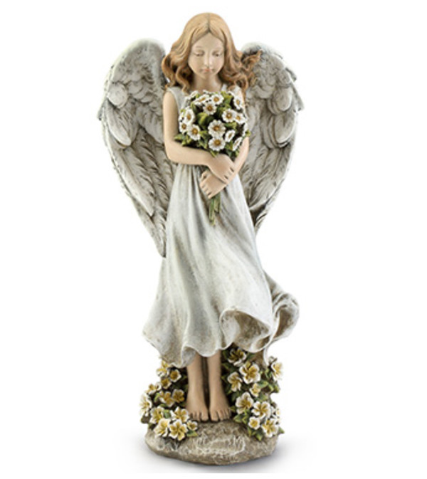 Angel With White Floral Bouquet