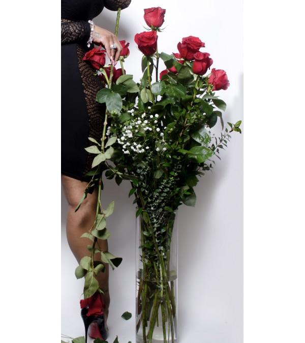 Premium Four Foot Dozen Roses Vased