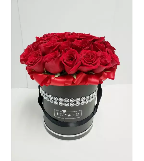 Red Roses in Black Couture Box