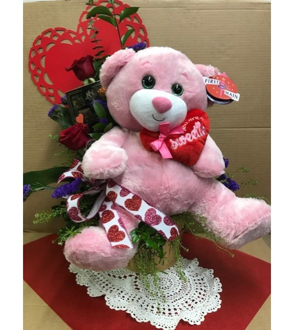 Valentine's Day I Love You Bear and Chocolate Bouquet