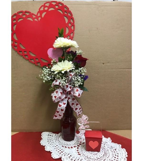I Love You Vase Arrangement with Chocolates