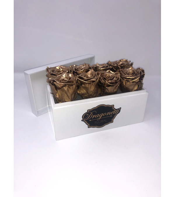 Forever Roses In White Lacquer Box