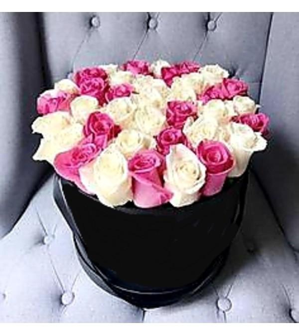 Pink & Cream Roses Hatbox
