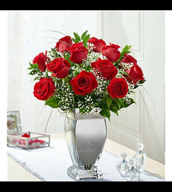 Long Stem Premium Roses in Silver Vase One Dozen