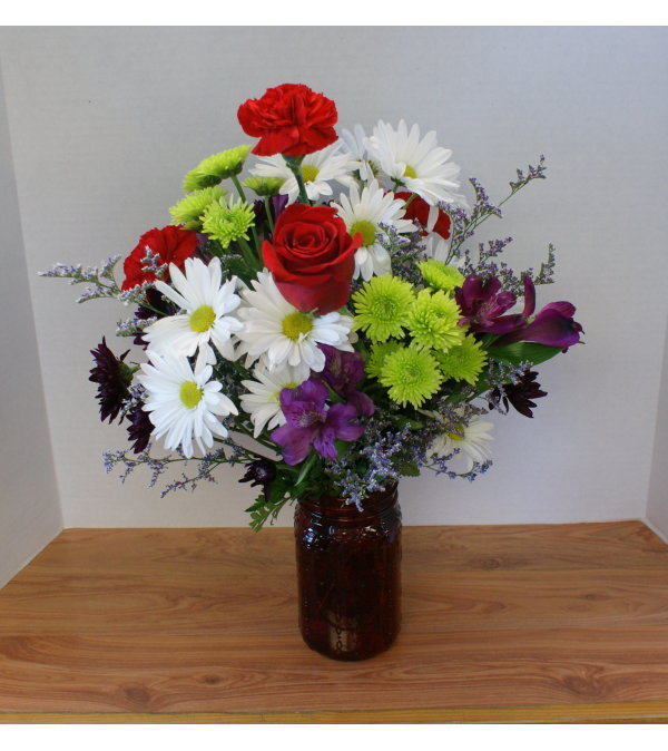 Red Hot Canning Jar Bouquet
