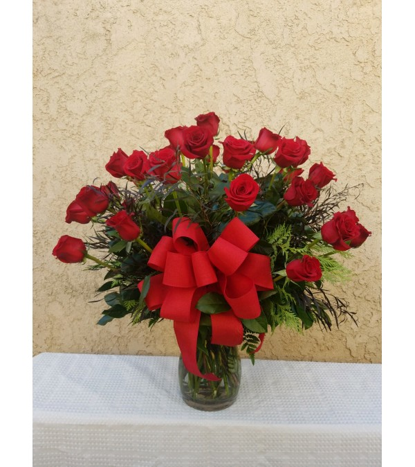 Two Dozen Roses With Greenery