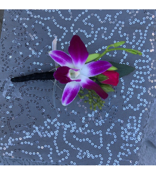 Prom Orchid and Rose Boutonniere