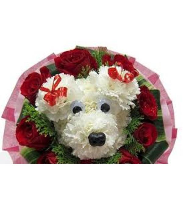 Flower Puppy with Roses