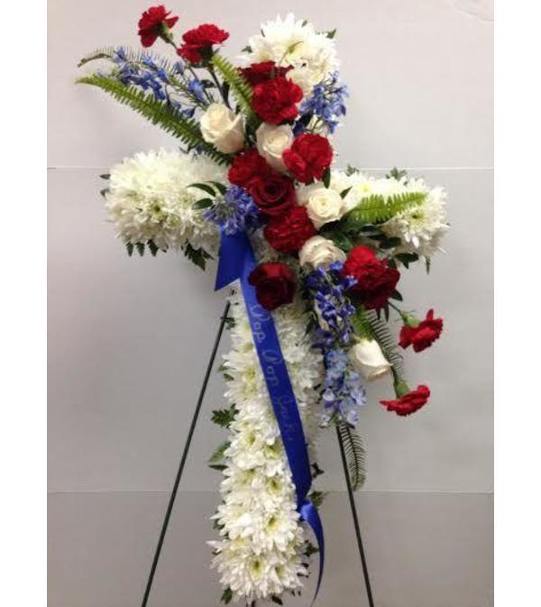 """24"""" Cross with Patriotic Floral Spray"""
