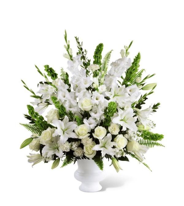 White and Green Sympathy Arrangement