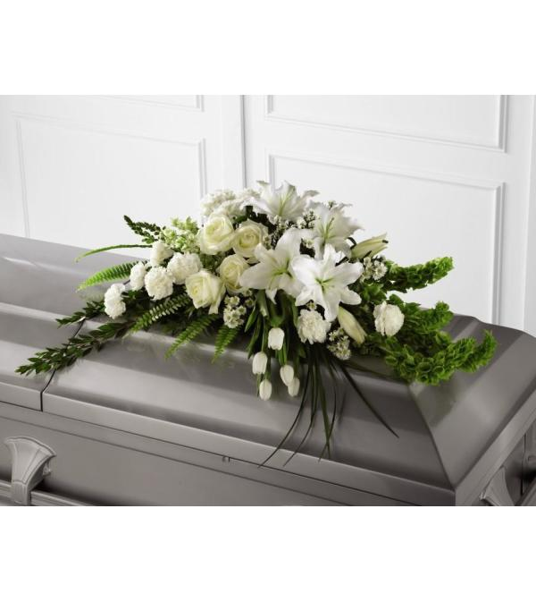 White and Green Half Casket Spray