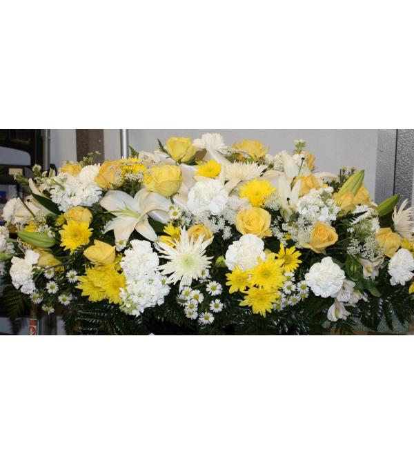Yellow and White Sympathy Casket Spray