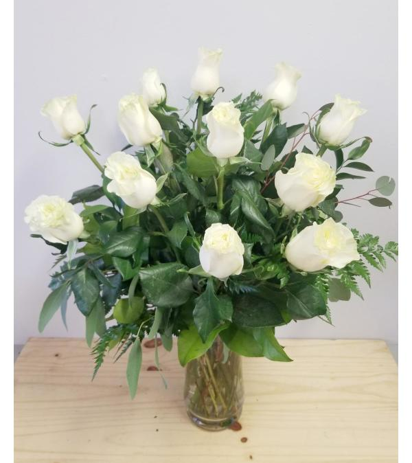 Dozen White Rose Vase