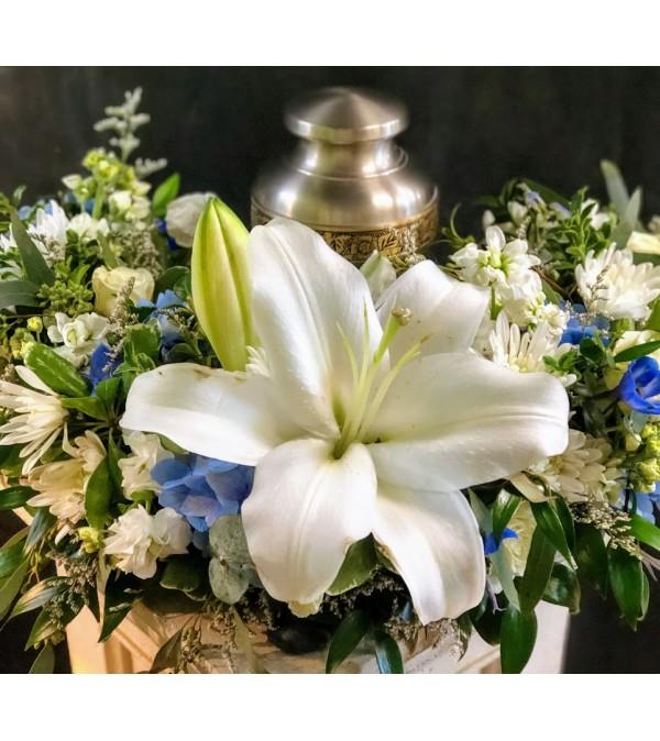 White and Blue Sympathy Urn Wreath