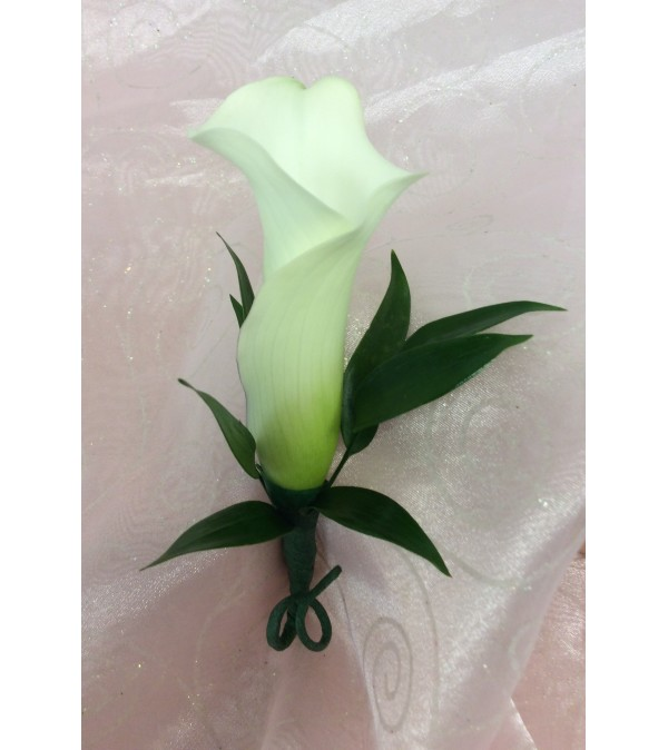 Bout 5 - White mini calla lily with greenery (pick up only)