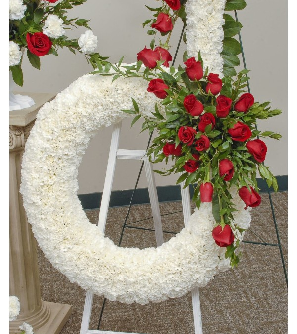 White Wreath with Roses.