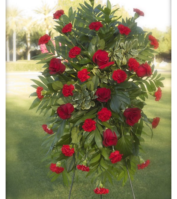 Standing Spray-Red Roses & Red Carnations
