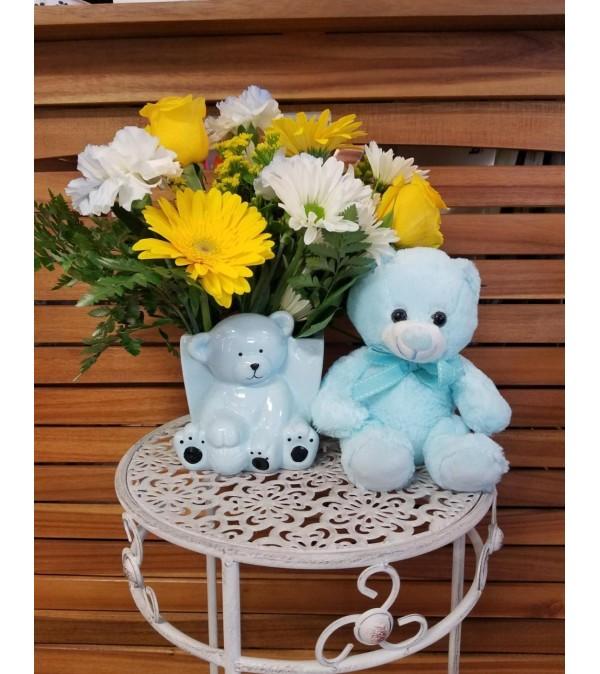 Baby Boy with Plush Blue Bear