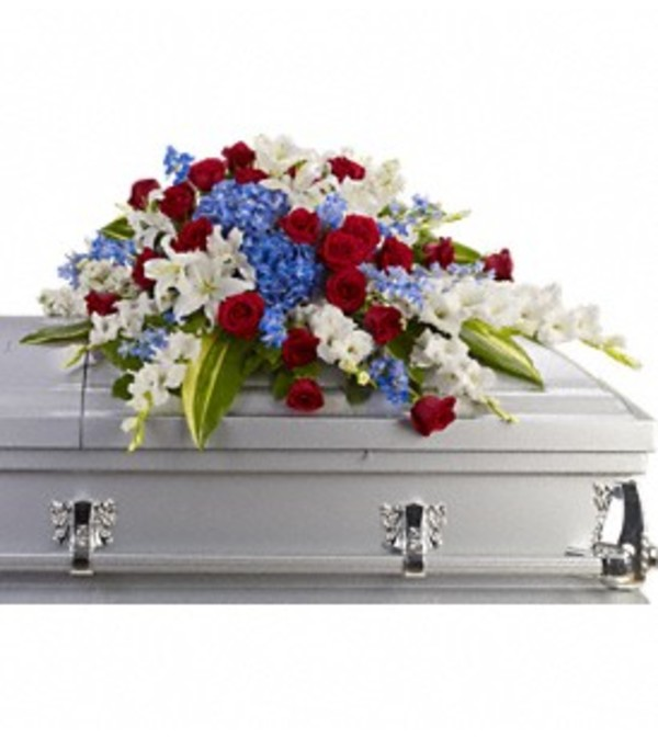 Distinguished Service Casket Spray Blue and White