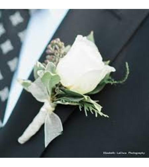 White Rose Boutonniere no filler