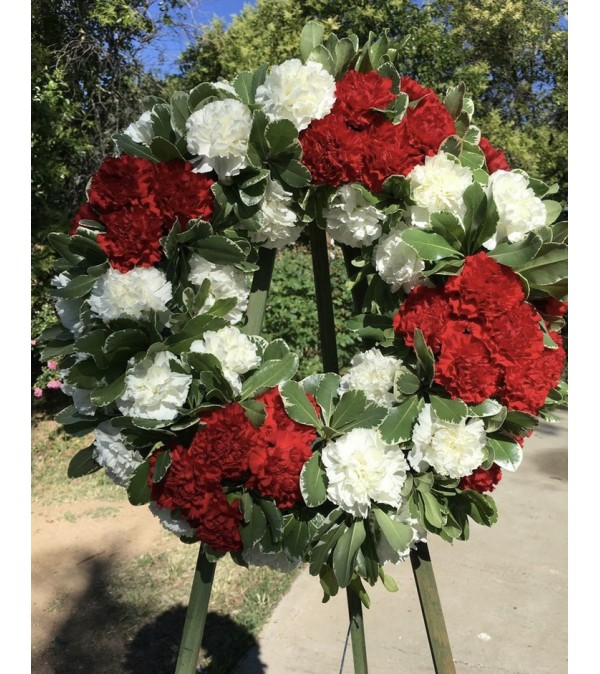 A Sympathy Wreath in Red/White