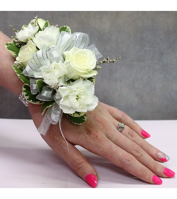 White rose & Carnation Corsage/Boutonniere