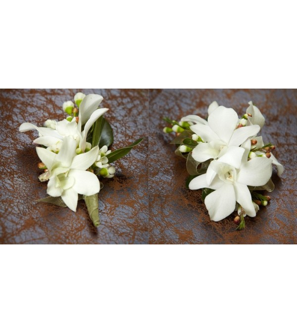 Dendrobium Orchid Prom Corsage and Bout. All white.