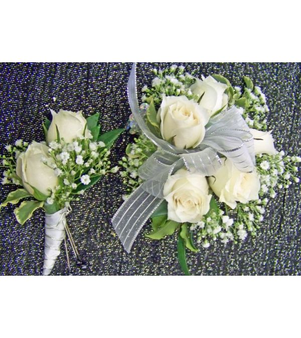 White roses wrist corsage and bout. package