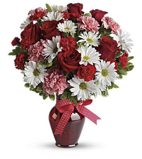 Hugs and Kisses Flower Bouquet with Red Roses