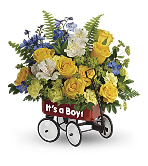 Sweet little boy wagon bouquet