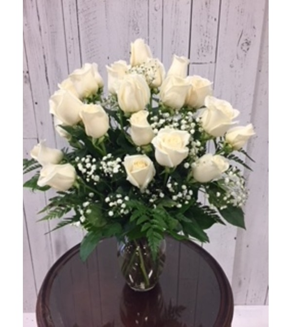 24 white roses bouquet