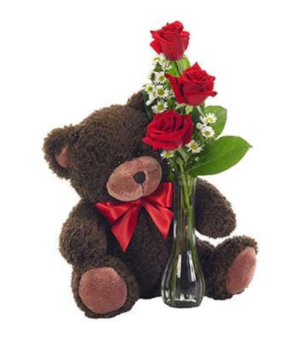 Bear with 3 Rose Bud Vase