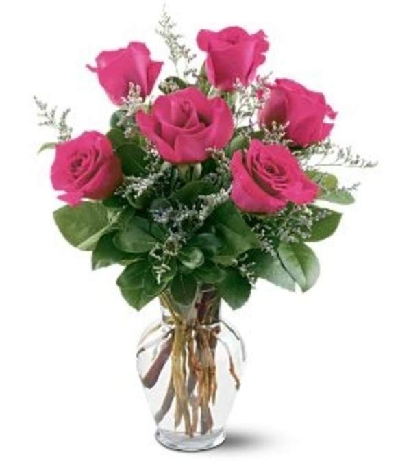 1/2 DOZEN PINK ROSES IN VASE WITH GREENS AND FILLER
