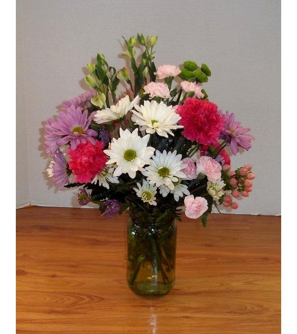 Garden of Daisies Canning Jar Bouquet